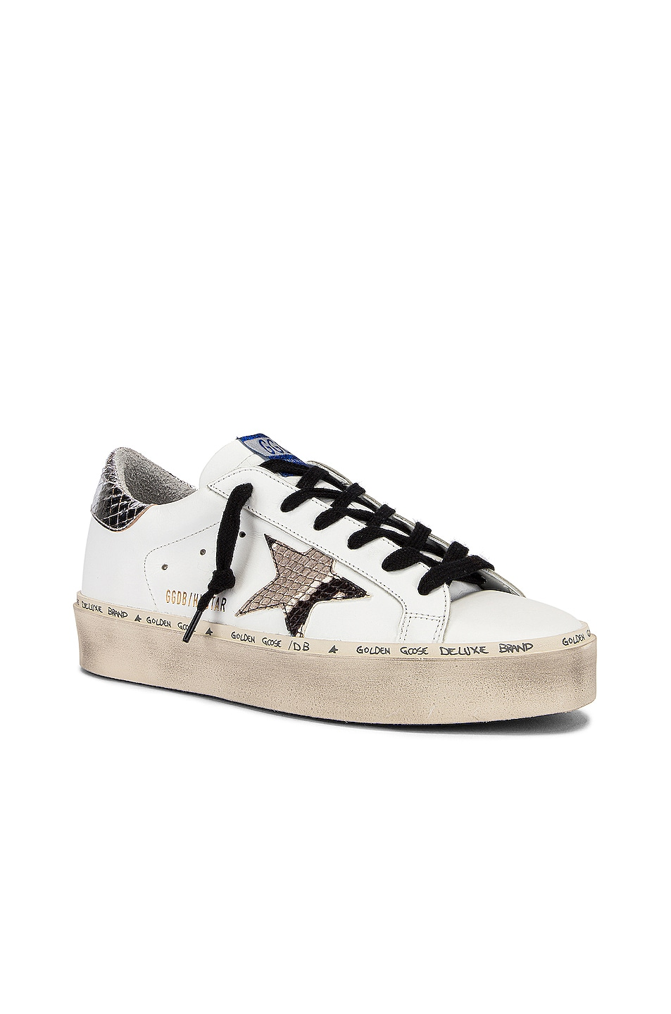 Image 2 of Golden Goose Hi Star Sneaker in White & Natural Snake