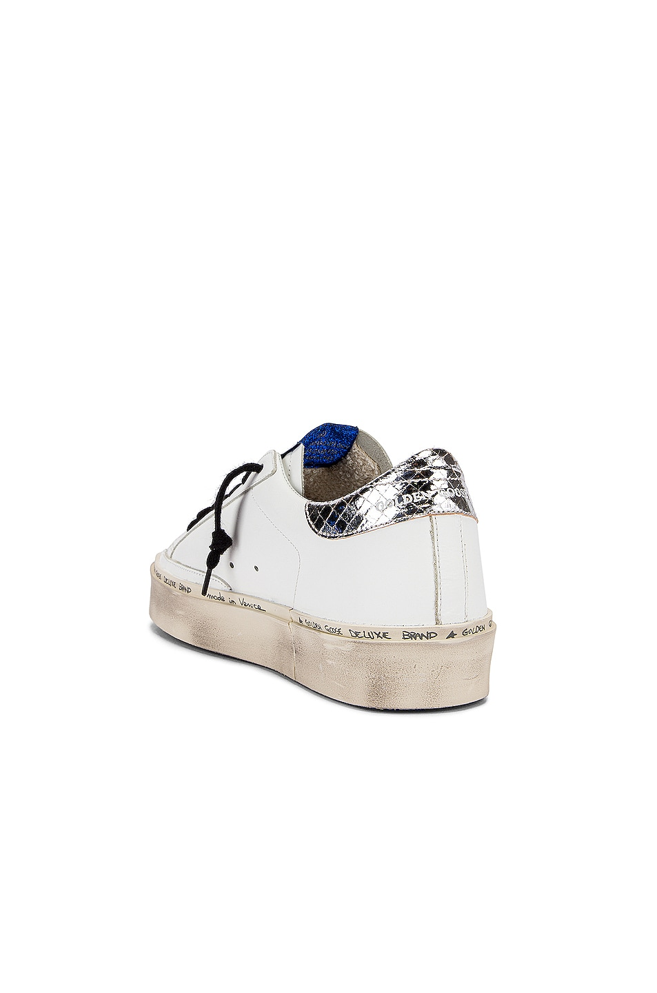 Image 3 of Golden Goose Hi Star Sneaker in White & Natural Snake