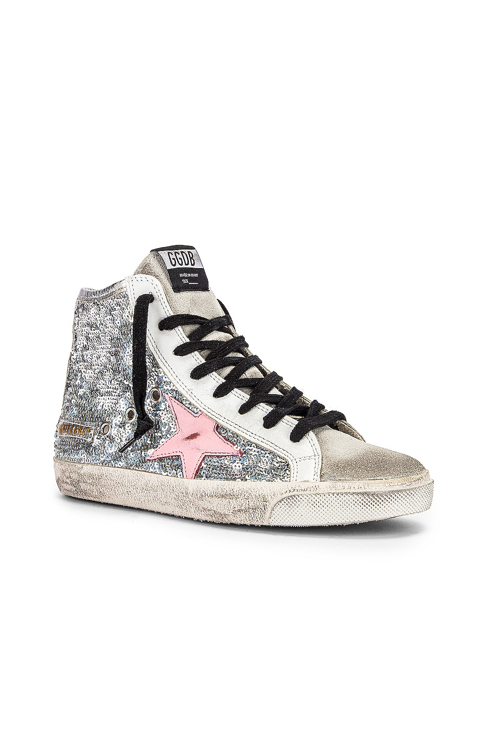 Image 2 of Golden Goose Francy Sneaker in Silver Paillettes & Pink