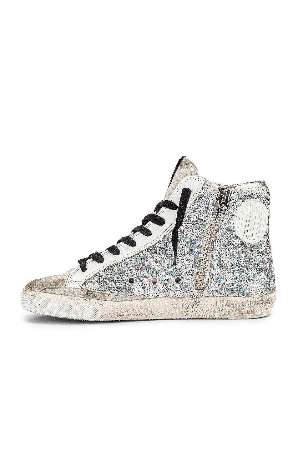Image 5 of Golden Goose Francy Sneaker in Silver Paillettes & Pink