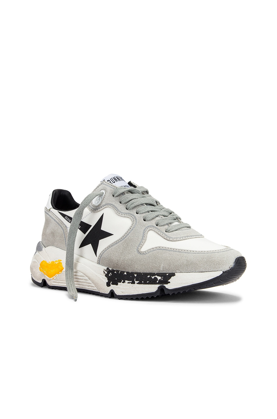 Image 2 of Golden Goose Running Sole Sneaker in White Lycra & Black