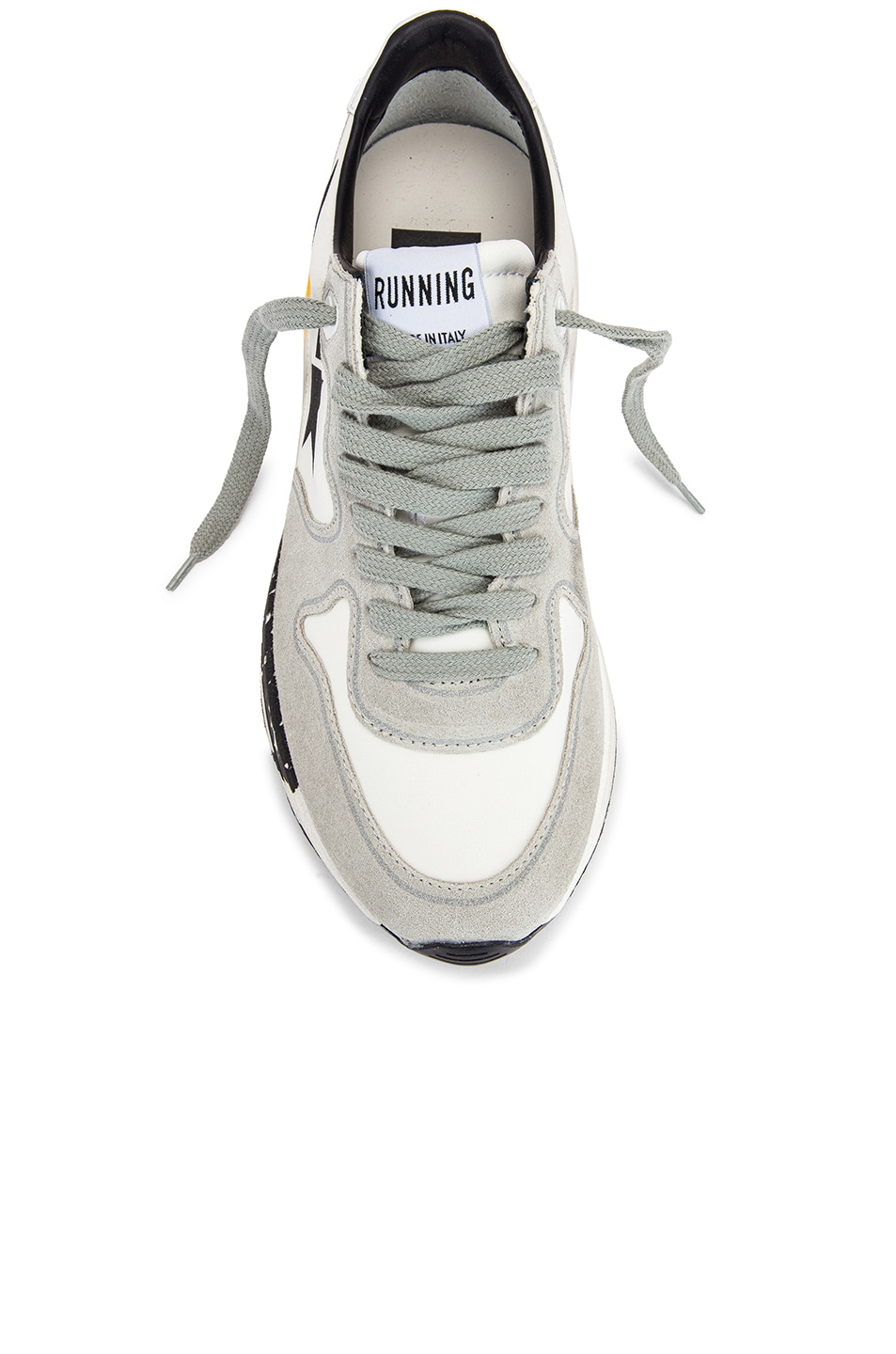 Image 4 of Golden Goose Running Sole Sneaker in White Lycra & Black