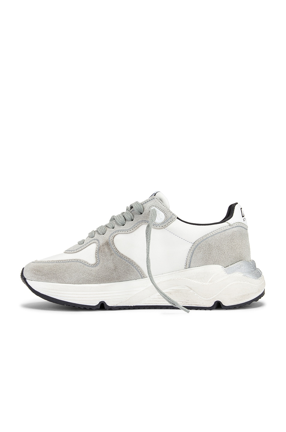 Image 5 of Golden Goose Running Sole Sneaker in White Lycra & Black