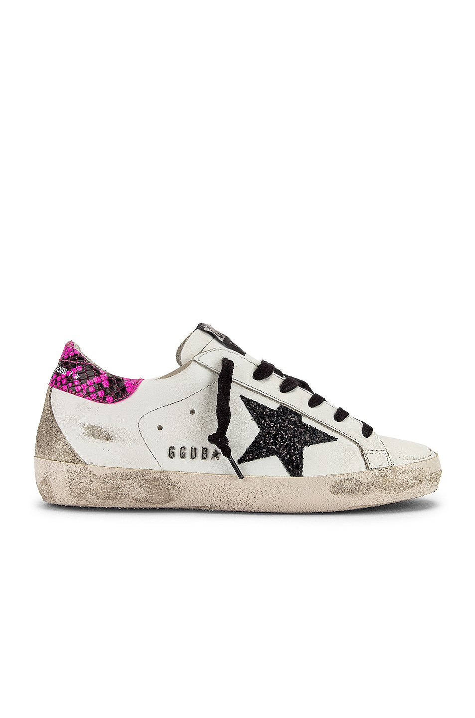 Image 1 of Golden Goose Superstar Sneaker in White, Fuchsia Python & Glitter Star