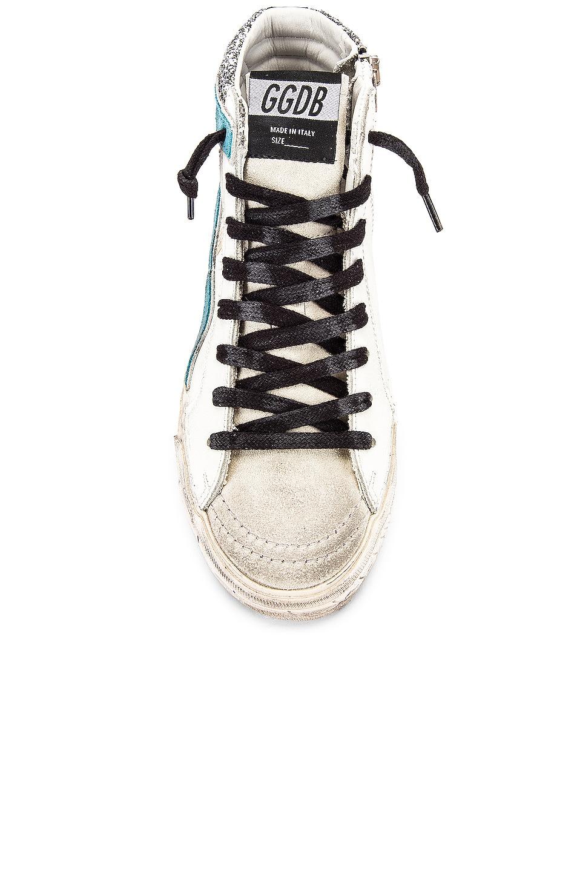 Image 4 of Golden Goose Slide Sneaker in White, Silver Glitter & Fuchsia