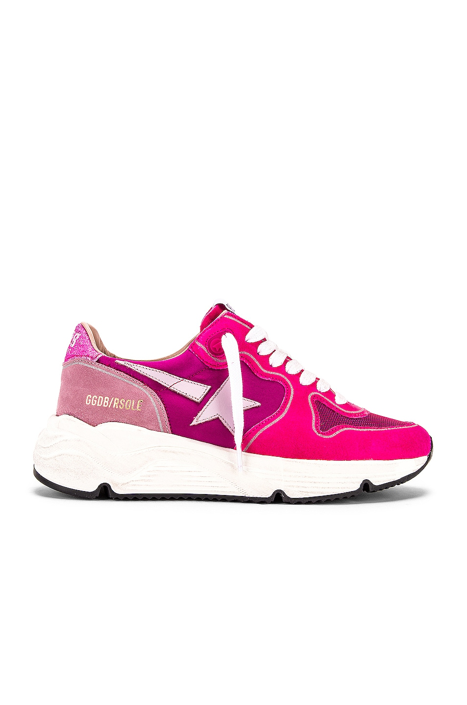 Image 1 of Golden Goose Running Sole Sneaker in Fuchsia Suede, Pink Star & Glitter