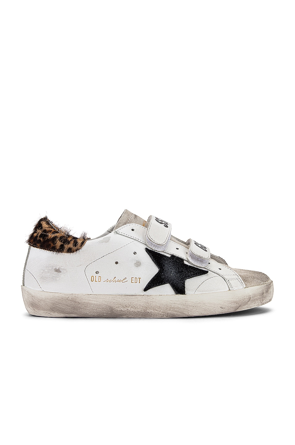 Image 1 of Golden Goose Old School Sneakers in White Leather & Leopard Pony