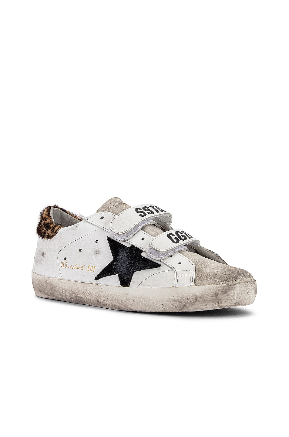 Image 2 of Golden Goose Old School Sneakers in White Leather & Leopard Pony