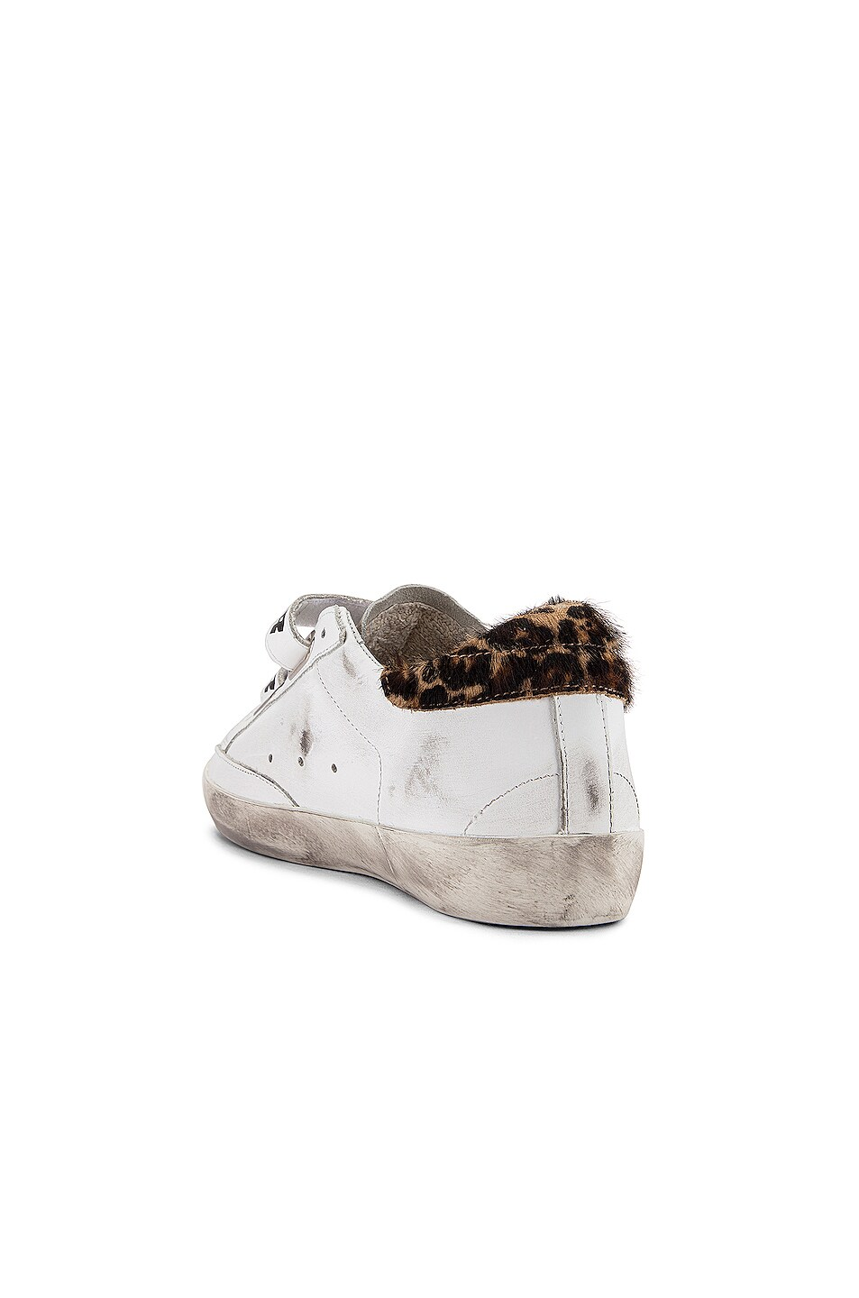 Image 3 of Golden Goose Old School Sneakers in White Leather & Leopard Pony
