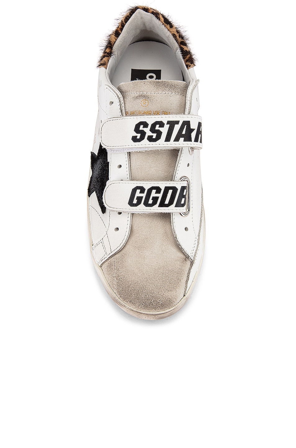 Image 4 of Golden Goose Old School Sneakers in White Leather & Leopard Pony