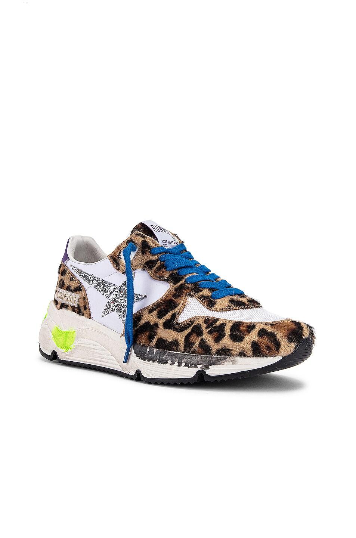 Image 2 of Golden Goose Running Sole Sneaker in Leopard Pony & Silver Glitter