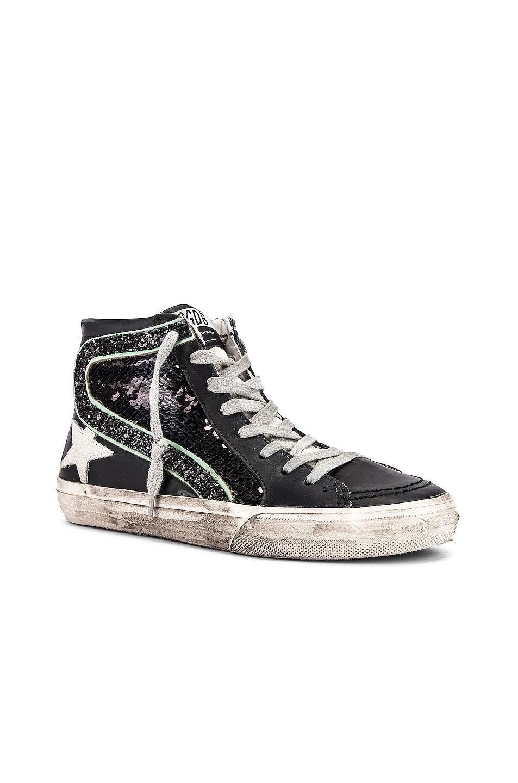 Image 2 of Golden Goose Slide Sneaker in Black, Paillettes & Ice