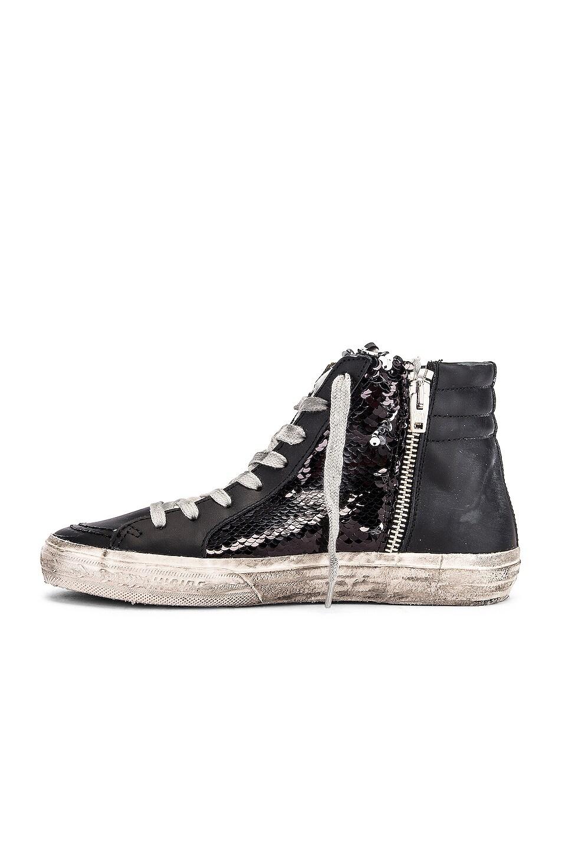 Image 5 of Golden Goose Slide Sneaker in Black, Paillettes & Ice