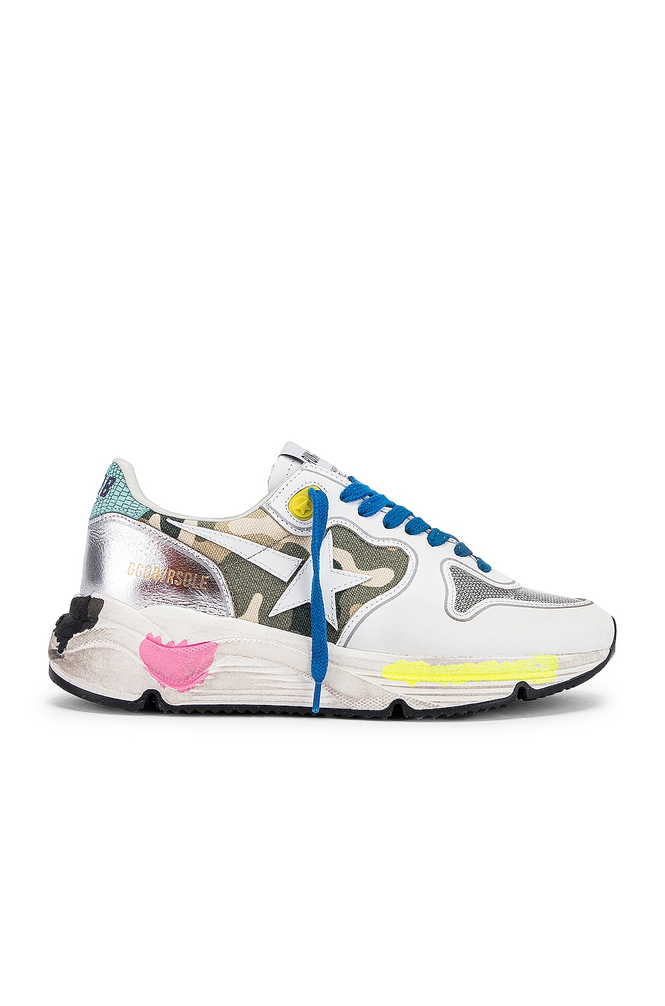 Image 1 of Golden Goose Running Sole Sneaker in White & Camouflage