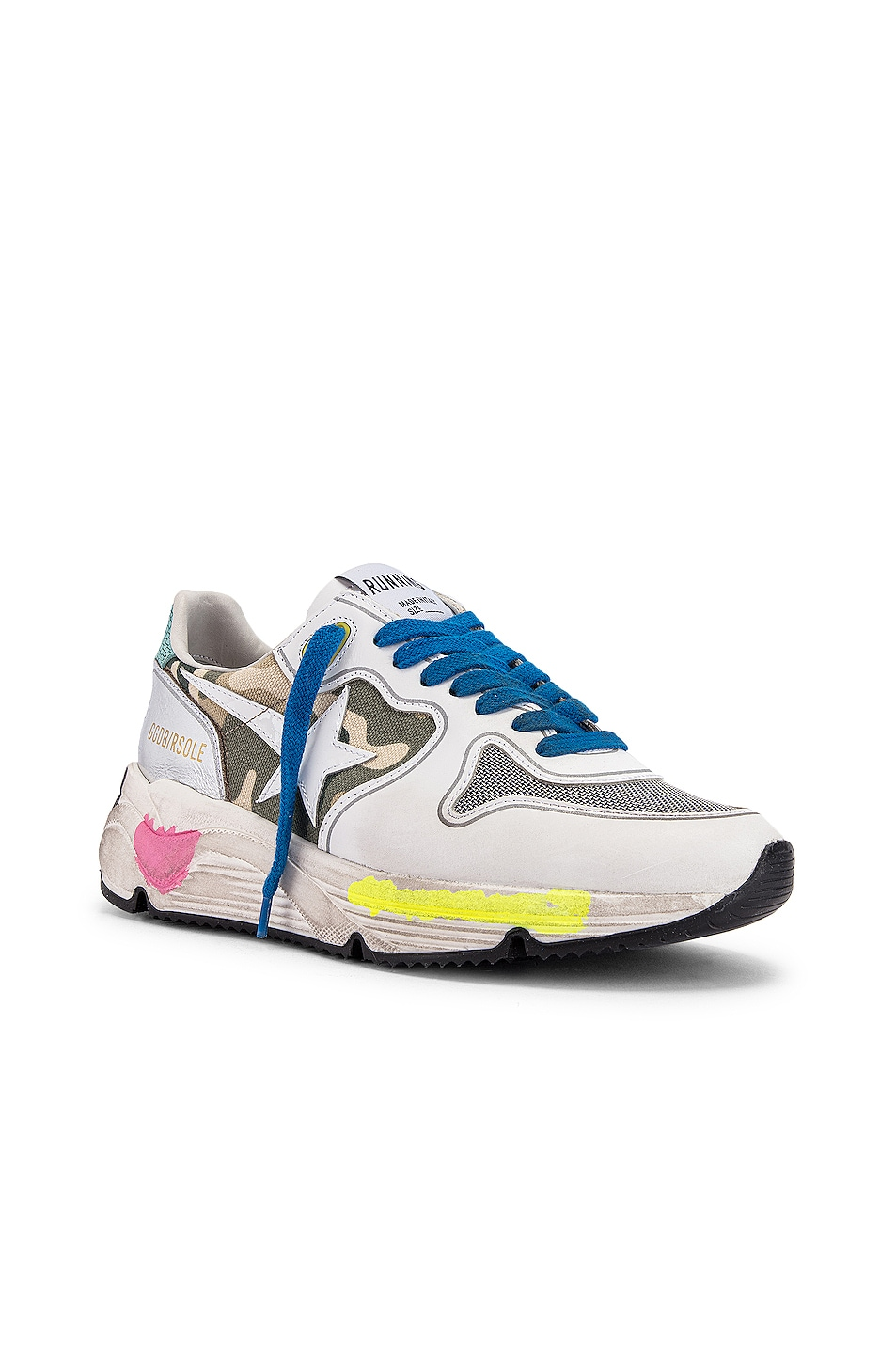 Image 2 of Golden Goose Running Sole Sneaker in White & Camouflage