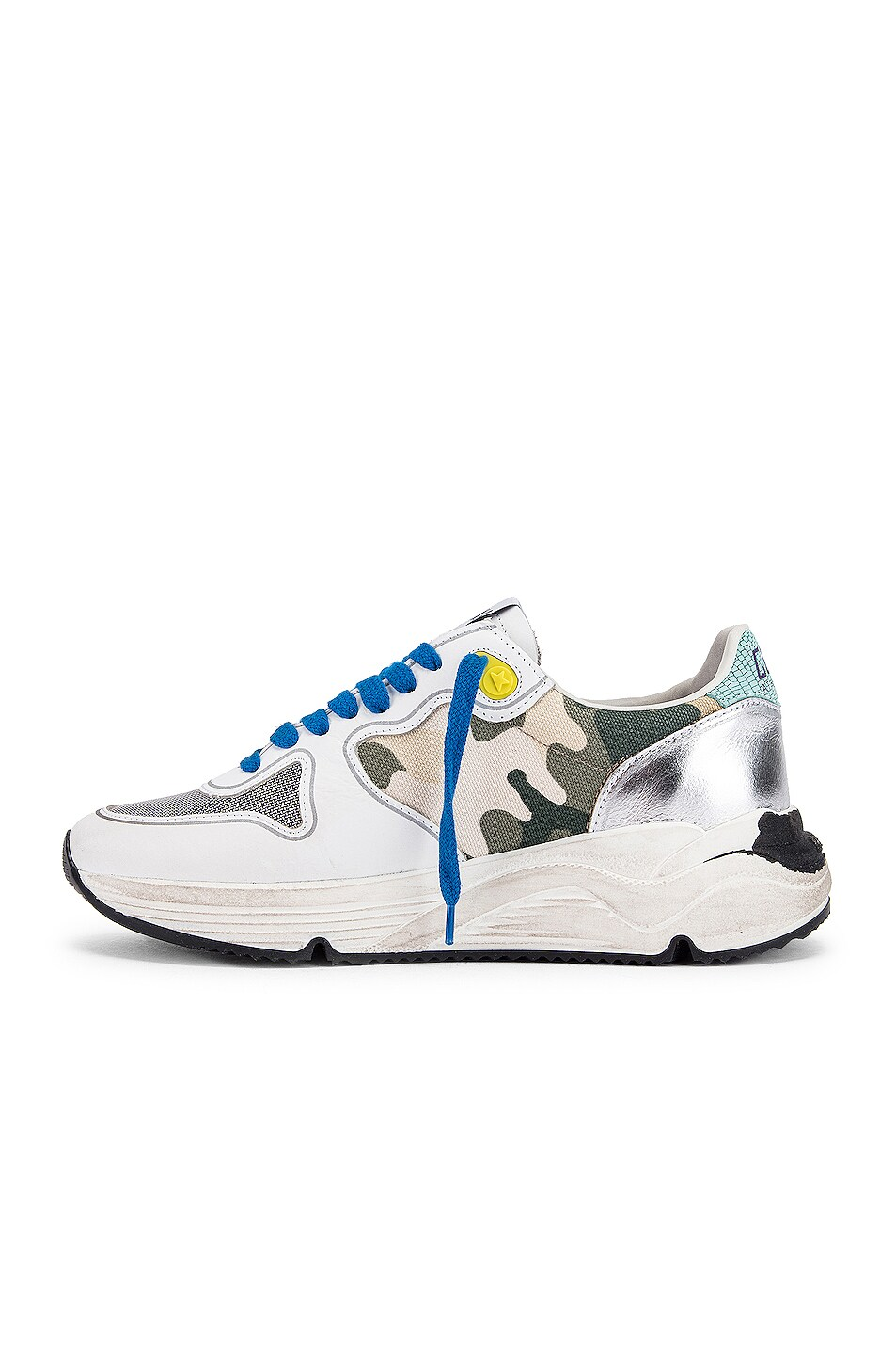 Image 5 of Golden Goose Running Sole Sneaker in White & Camouflage