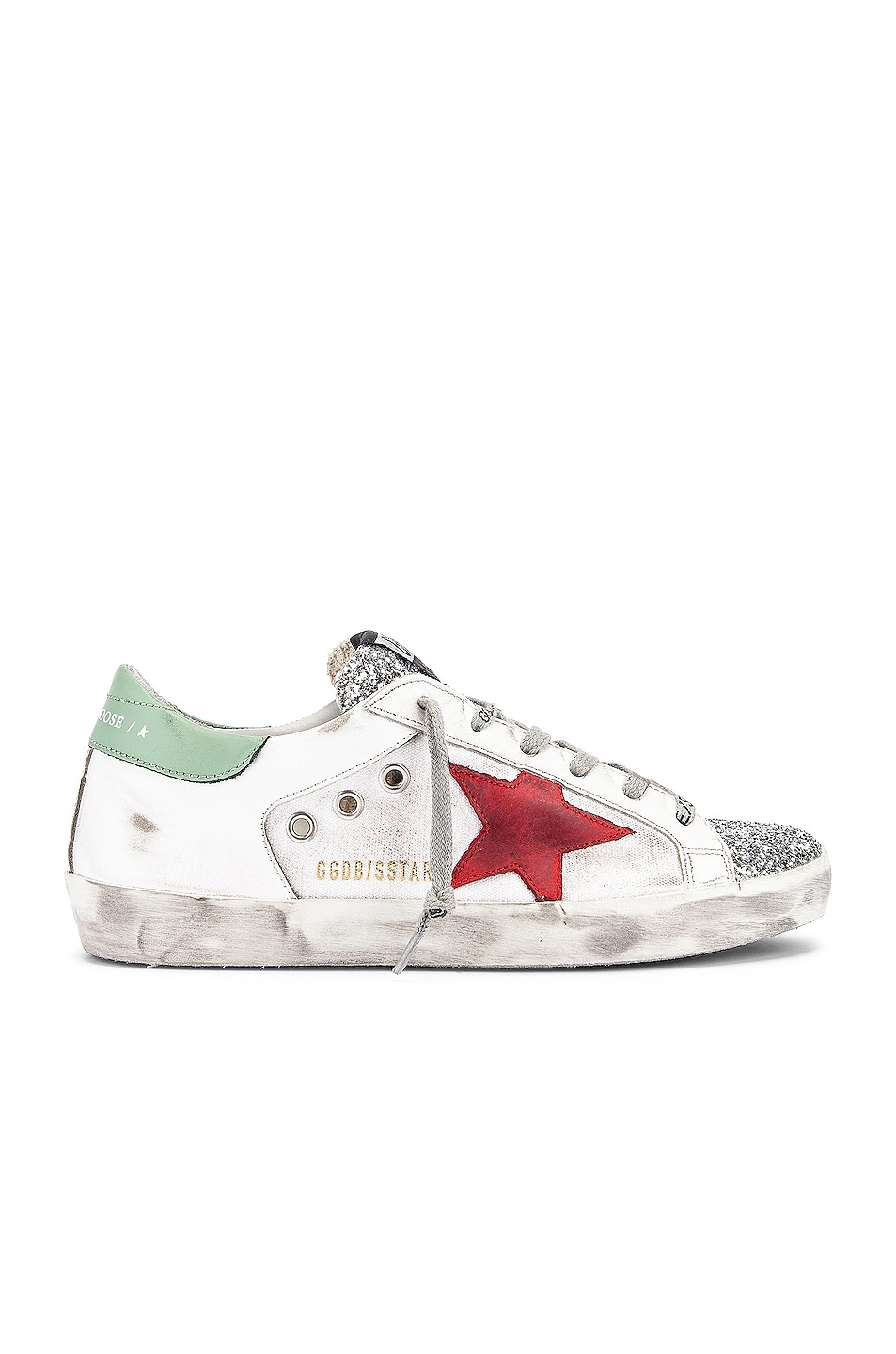 Image 1 of Golden Goose Superstar Sneaker in White Leather, Silver Glitter & Red