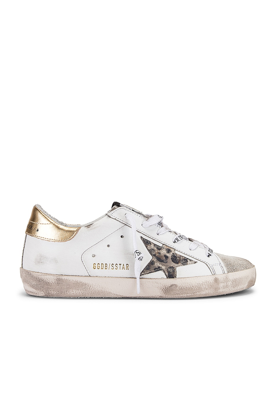 Image 1 of Golden Goose Superstar Sneaker in White, Spotted Star & Logo Lace