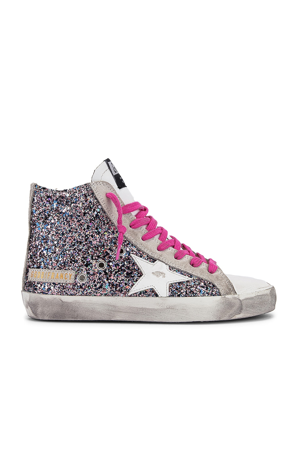 Image 1 of Golden Goose Francy Sneaker in White, Pink & Grey Glitter
