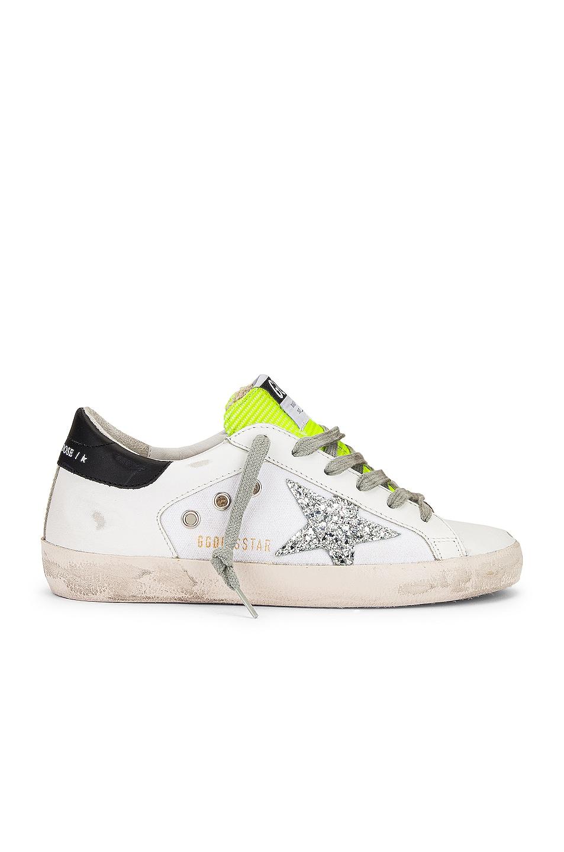 Image 1 of Golden Goose Superstar Sneaker in White, Silver Glitter & Fluo