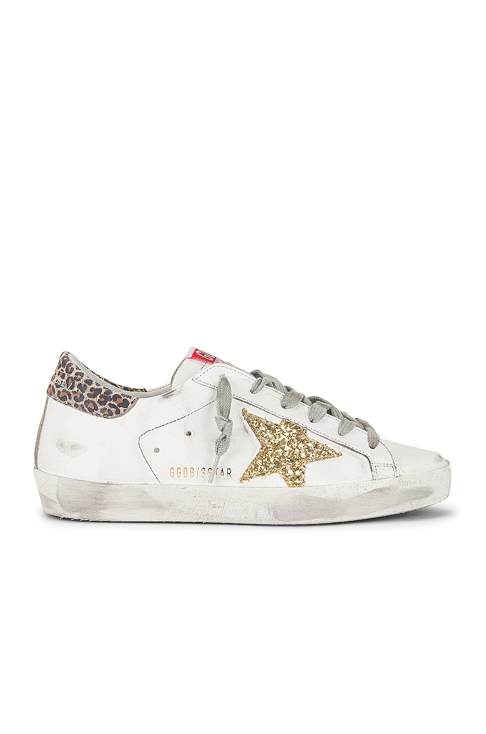 Image 1 of Golden Goose Superstar Sneaker in White, Yellow Gold & Beige Brown Leopard