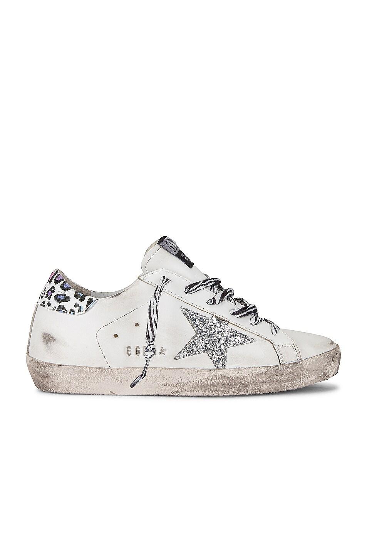 Image 1 of Golden Goose Superstar Sneaker in White, Silver, & Multicolor Leopard