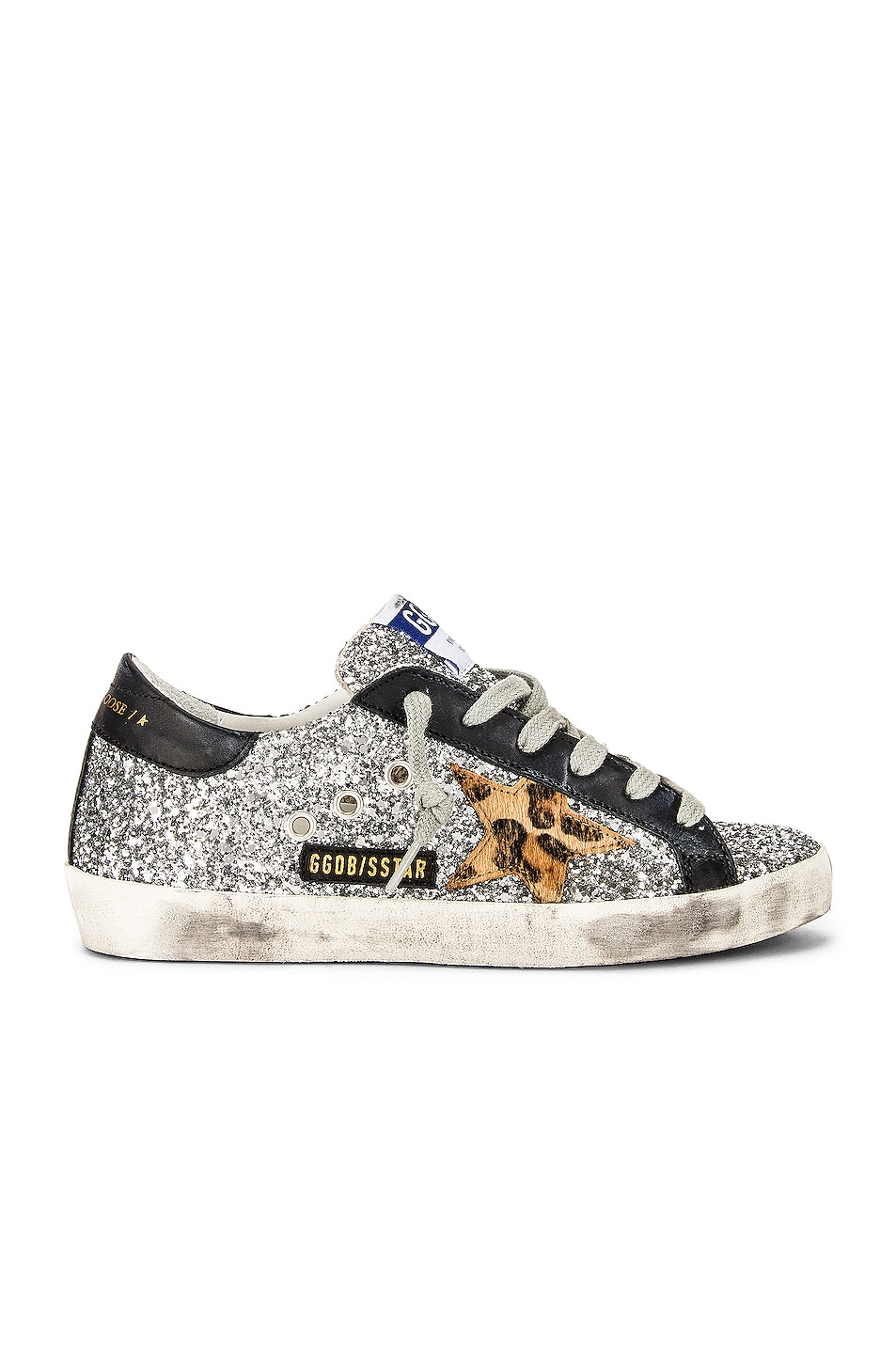 Image 1 of Golden Goose Superstar Sneaker in Silver, Beige Brown Leopard & Black