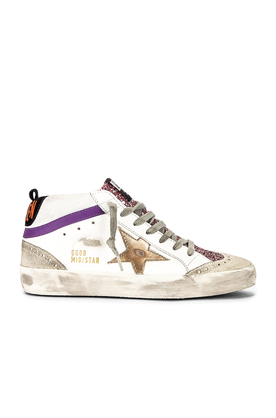 Image 1 of Golden Goose Mid Star Sneaker in White, Pink, Ice, Brown & Black