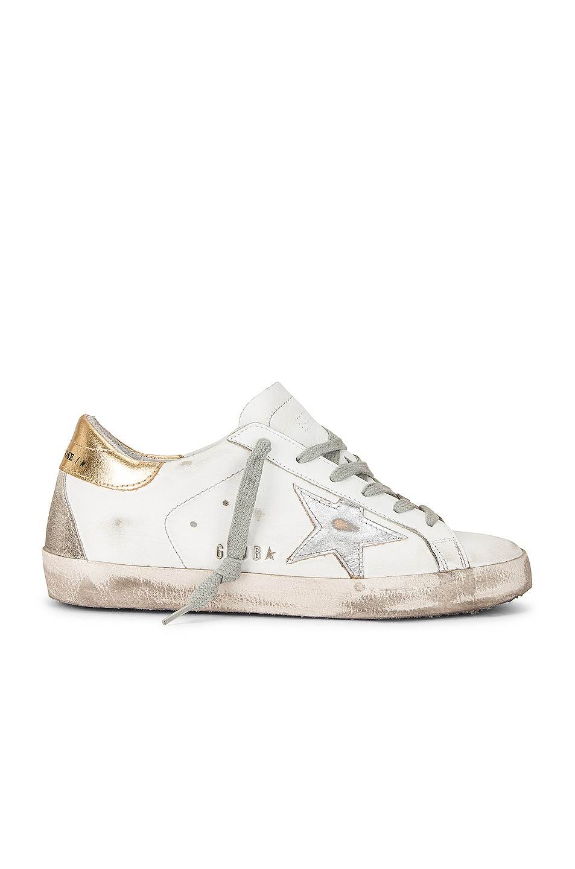 Image 1 of Golden Goose Superstar Sneaker in White, Silver, & Gold
