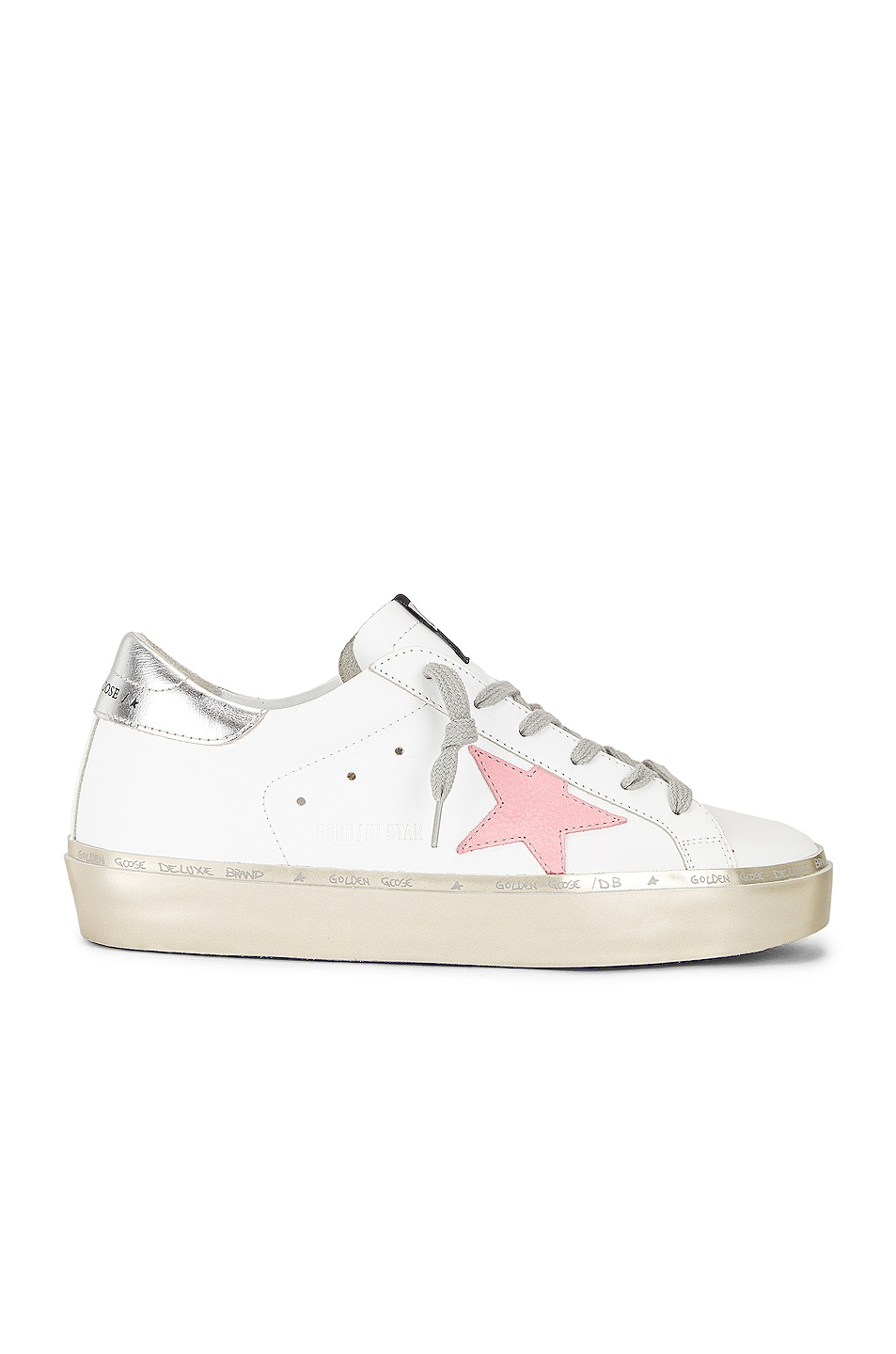 Image 1 of Golden Goose Hi Star Sneaker in White, Pink Pastel, Silver & Gold