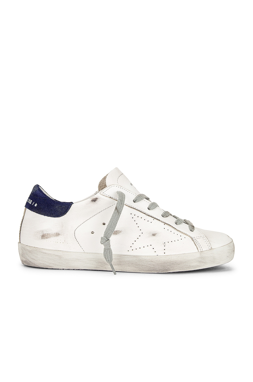 Image 1 of Golden Goose Superstar Sneaker in White & Dark Blue