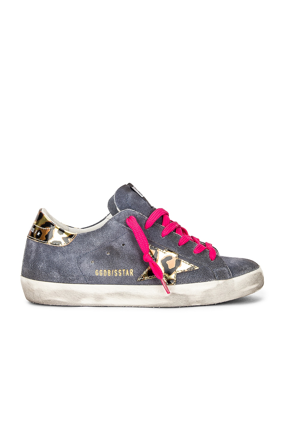 Image 1 of Golden Goose Superstar Sneaker in Grey Blue, Gold, Black & Leopard