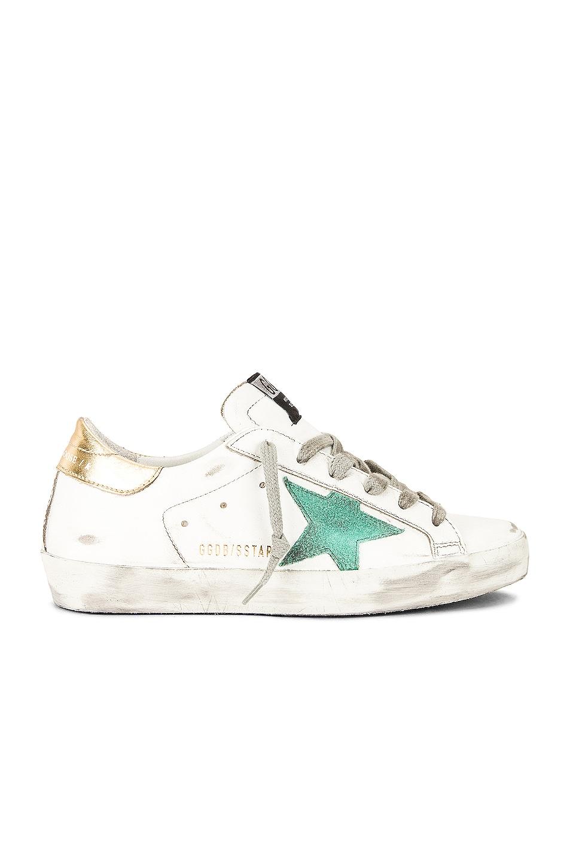 Image 1 of Golden Goose Superstar Sneaker in White, Green & Gold