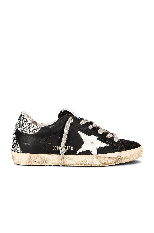 Image 1 of Golden Goose Superstar Sneaker in Black, White & Silver