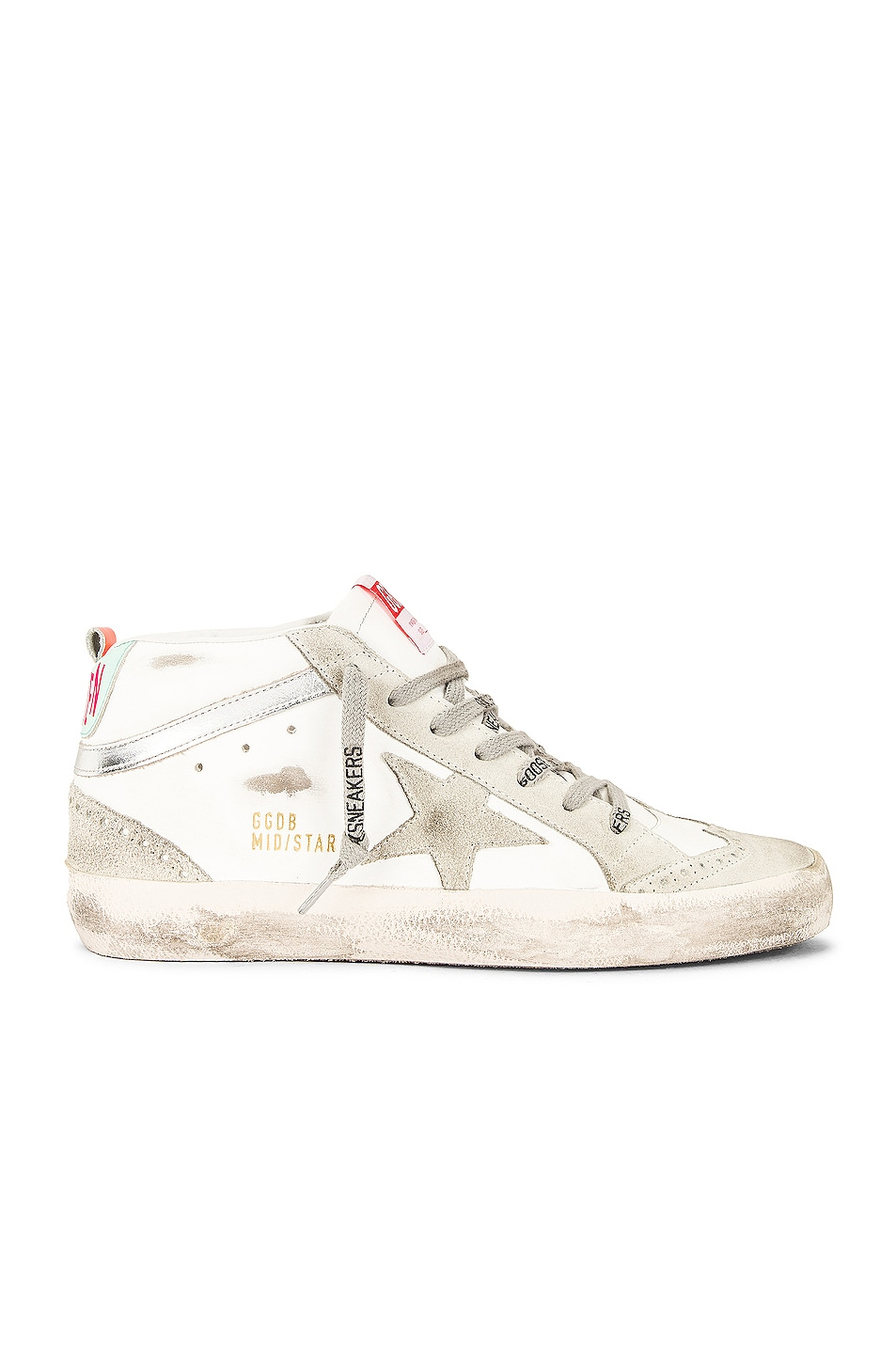 Image 1 of Golden Goose Mid Star Sneaker in White, Ice, Silver & Turquoise