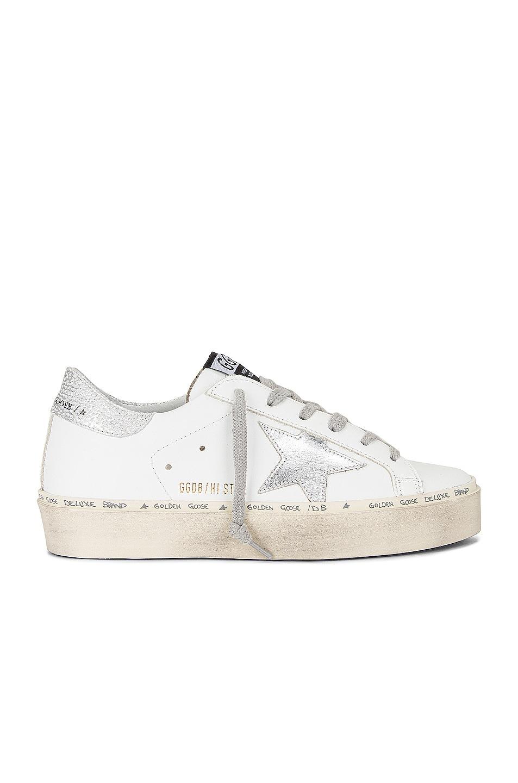 Image 1 of Golden Goose Hi Star Sneaker in White & Silver