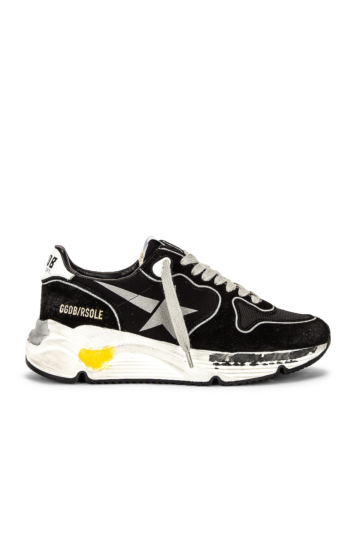Image 1 of Golden Goose Running Sole Sneaker in Black, Silver, & White