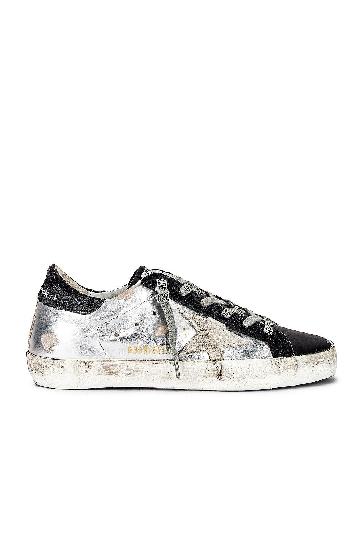 Image 1 of Golden Goose Superstar Sneaker in Silver, Black & Ice