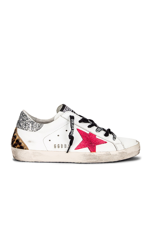 Image 1 of Golden Goose Superstar Sneaker in White, Fuchsia Fluorescent, Silver & Brown Leopard