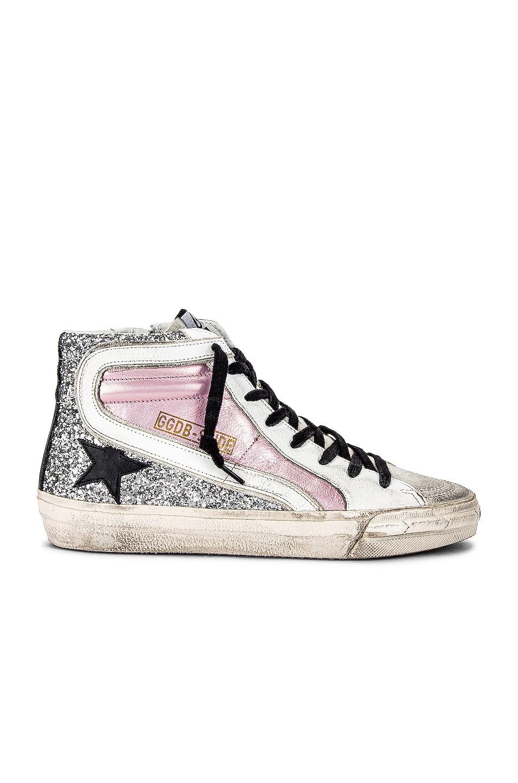 Image 1 of Golden Goose Slide Sneaker in Salmon Pink, Silver, Ice, White & Black