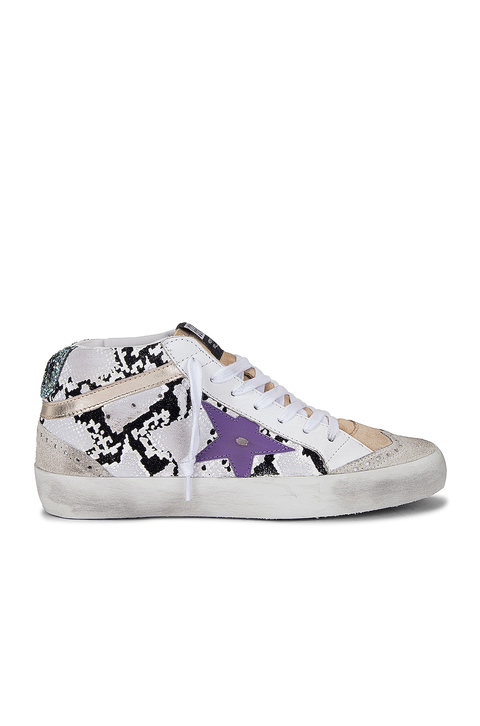 Image 1 of Golden Goose Mid Star Sneaker in Grey Phyton, Ice, Cappuccino, Purple & Platinum