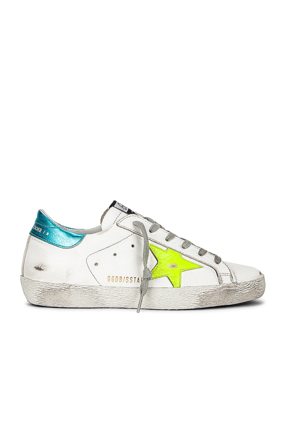 Image 1 of Golden Goose Superstar Sneaker in White, Yellow Fluo, & Turquoise