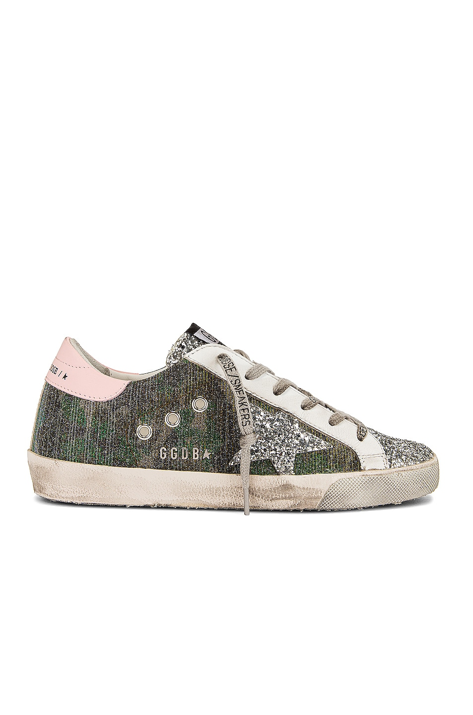 Image 1 of Golden Goose Super Star Sneaker in Green Camouflage, Silver, Pink & White
