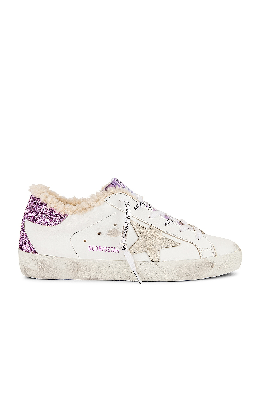 Image 1 of Golden Goose Super Star Sneaker in White & Lavender