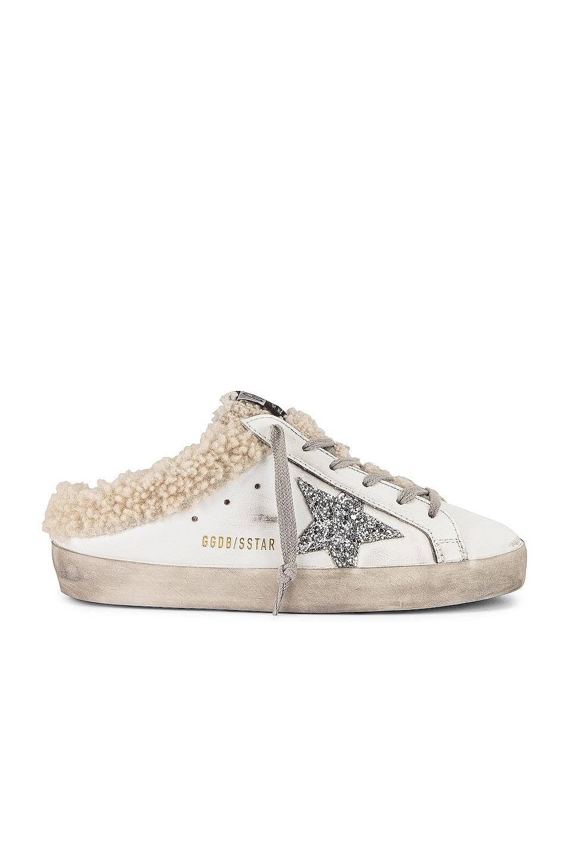 Image 1 of Golden Goose Super Star Sabot Sneaker in White, Silver & Beige