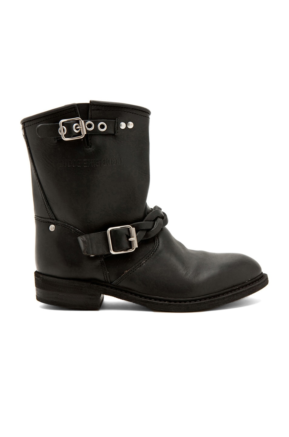 Image 1 of Golden Goose Leather Short Biker Boots in Black