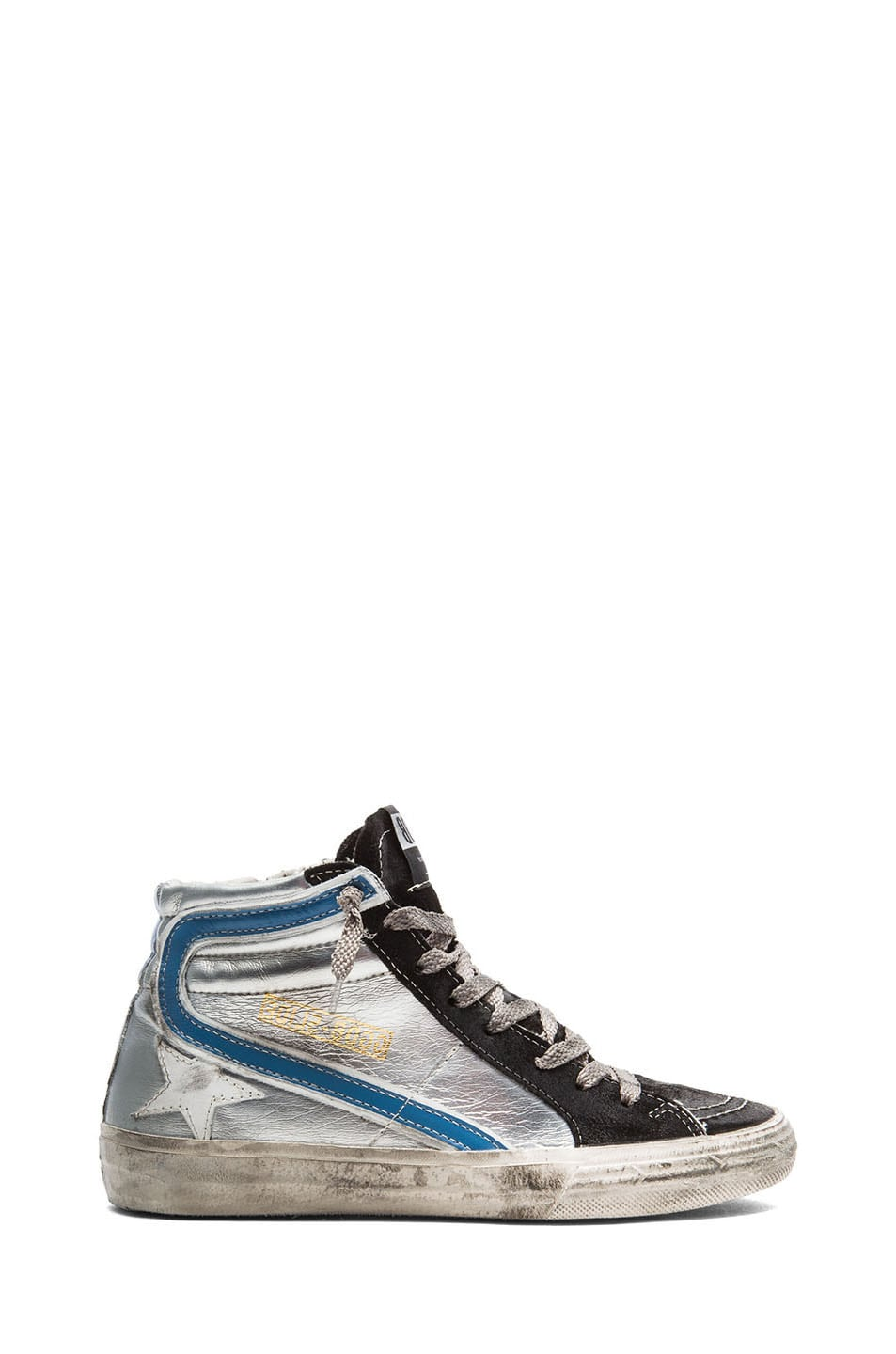 Image 1 of Golden Goose Slide Leather Sneakers in Silver & Black