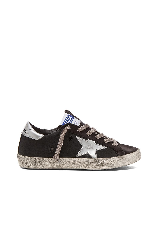 Image 1 of Golden Goose Superstar Low Top Canvas Sneakers in Black
