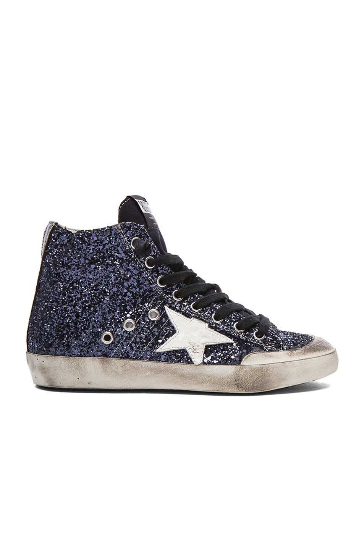 80f31c82fe25 Image 1 of Golden Goose Francy High Top Glitter Sneakers in Blue Glitter