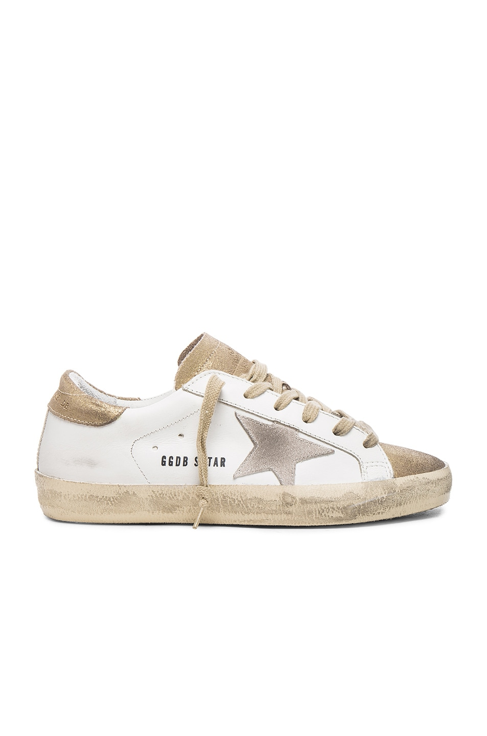 Image 1 of Golden Goose Leather Superstar Low in Gold & White
